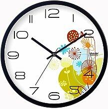 DIDADI Wall Clock Das Wohnzimmer Uhren Wanduhr Blume Garten mute moderne Quarzuhr 12 Zoll kreative