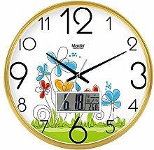 DIDADI Wall Clock Der schöne Garten Bild Kunst Wanduhr Kinderzimmer Schlafzimmer mute QUARZUHR, modernes Wohnzimmer mit Kalender, 14-Zoll-LCD,-738 Gold Edition