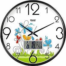 DIDADI Wall Clock Der schöne Garten Bild Kunst Wanduhr Kinderzimmer Schlafzimmer mute QUARZUHR, modernes Wohnzimmer mit Kalender, 10 Zoll-LCD-Bildschirm,-738 black edition