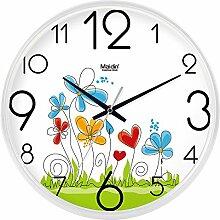 DIDADI Wall Clock Der schöne Garten Bild Kunst Wanduhr Kinderzimmer Schlafzimmer mute QUARZUHR, modernes Wohnzimmer mit Kalender, 14 Zoll, die normale Version weiß-738