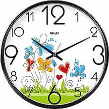 DIDADI Wall Clock Der schöne Garten Bild Kunst Wanduhr Kinderzimmer Schlafzimmer mute QUARZUHR, modernes Wohnzimmer mit Kalender, 10 Zoll, die normale Version Schwarz-738