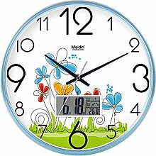 """DIDADI Wall Clock Der schöne Garten Bild Kunst Wanduhr Kinderzimmer Schlafzimmer mute QUARZUHR, modernes Wohnzimmer mit Kalender, 14""""-LCD-blau-738, Version"""