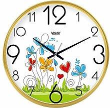 """DIDADI Wall Clock Der schöne Garten Bild Kunst Wanduhr Kinderzimmer Schlafzimmer mute QUARZUHR, modernes Wohnzimmer mit Kalender, 12"""", die normale Version golden-738"""