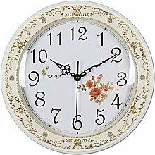 DIDADI Wall Clock Europäische feste Holz Wand Uhr, Gebiet, Territorium, Gebiet Schlafzimmer Garten Wohnzimmer Wanduhr 39cm