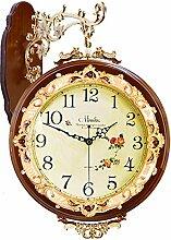 DIDADI Wall Clock Europäischen Antike Stille zweiseitige Wanduhr trendigen Garten Wohnzimmer minimalistischen kreative moderne Uhr Großuhren