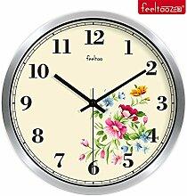 DIDADI Wall Clock Frische Blumen Garten Schlafzimmer mute Wanduhr Continental minimalistischen kreative Wohnzimmer 12 Zoll Uhren