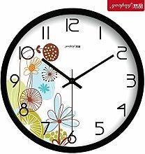 """DIDADI Wall Clock Frische Blumen Garten Zimmer kreative Uhren der Schlafzimmer sind mit einem kontinentalen mute Wanduhr moderne Quarzuhr eingerichtet, 12"""", Metall Black Box"""