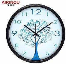 DIDADI Wall Clock Kreisförmige kreative moderne Wohnzimmer amerikanische Garten Wanduhr blau Quarzuhr - liebe Tabelle 12 Zoll