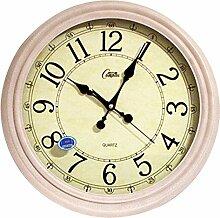 DIDADI Wall Clock Mute Wohnzimmer große Wanduhr Quarzuhr hegemonialen europäischen Stil Garten Wanduhr time clock, 16 Zoll, mit Holzmaserung Farbe