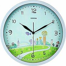 DIDADI Wall Clock Stilvolle Schlafzimmer Garten stumm Wanduhr Wanduhr Karikatur Wanduhr 12 Zoll Kinder mute Wanduhr