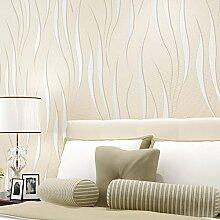 Einfache Tapete Moderner 3D-Beflockung Drei - Dimensionales Relief Vlies - Schlafzimmertapete,Beige-OneSize
