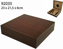 Einfacher Humidor rotbraun Zigarrenbox Befeuchter 15-20 Zigarren