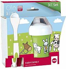 Emsa 509095 3-teiliges Baby Geschirr Set, Farmmotiv, Bunt, Farm Family