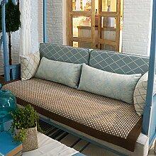 Europäische Baumwolle gewebt Sofakissen der vier Jahreszeiten/ fashion Garten Stoff Slip Sofa Handtuch-A 90x90cm(35x35inch)