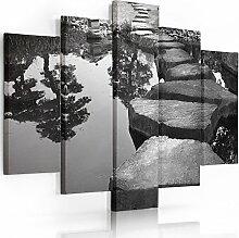 Feeby Frames, Leinwandbild, Bilder, Wand Bild - 5 Teile - Wandbilder, Kunstdruck TypA, 120x250 cm, GARTEN, TEICH, SCHWARZ-WEIß