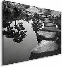 Feeby Frames, Leinwandbild, Bilder, Wand Bild, Wandbilder, Kunstdruck 60x80cm, GARTEN, TEICH, SCHWARZ UND WEIß
