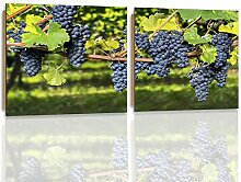 Feeby Frames, Wandbild - 2 Teile - quadratische Form, Deco Bild, gedrucktes Bild, Deco Panel, Bild, 160x80 cm, TRAUBEN, BAUM, GARTEN, STRÄUCHER, LILA, GRÜN