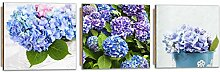 Feeby Frames, Wandbild - 3 Teile - Panoramabild, Deco Bild, gedrucktes Bild, Deco Panel, Foto, 210x70 cm, BLUMEN, GARTEN, STRAUß, BLAU