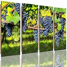 Feeby Frames, Wandbild - 4 Teile - Deco Bild, gedrucktes Bild, Deco Panel, Bild, Typ C, 120x100 cm, TRAUBEN, BAUM, GARTEN, STRÄUCHER, LILA, GRÜN