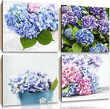Feeby Frames, Wandbild - 4 Teile - Deco Bild, gedrucktes Bild, Deco Panel, Foto, 120x120 cm, BLUMEN, GARTEN, STRAUß, BLAU
