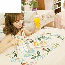 Garten Floral Tischdecke/Stickerei Tischdecke/American Land Baumwolle/Kunst Party Tischdecke-A 150x150cm(59x59inch)