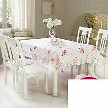Garten Spitze Stoff Tisch Tuch,Runder Tisch Tuch Tischdecke,Tischtuch Mit Mehr Stoff-A 160x210cm(63x83inch)