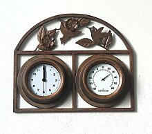 Garten Wohnzimmer Schlafzimmer aus Gusseisen Uhr klassische e Uhr Thermometer Metall Wanduhr,A