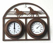 Garten Wohnzimmer Schlafzimmer aus Gusseisen Uhr klassische e Uhr Thermometer Metall Wanduhr,B