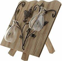 Gazechimp Glas Glasvase mit Holzbrett Halter , Tisch Dekoration Für Blumen Pflanzen - Holz #2, 29*5*24