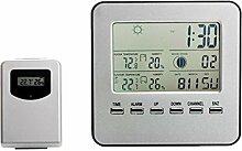 Gazechimp Lcd Drahtlose Wetterstation mit Uhr, Wecker und Wettervorhersage