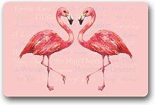 Generic anpassen New Fashion Design Flamingo Fußmatte Welcome Fußmatte Haltbares hitzebeständig Vlies TOP Größe 60cm (L) X 40cm (W) Garten-& Home im Innenbereich rutschfest Tür Fußmatte