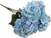 Generic Künstliche 5 Köpfe DIY Kunstseide Blume Hortensie Pflanze Hochzeit Partei Garten Dekor - Blau, 7cm