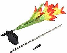 Generic Solarlampe Gartenleuchte Kunstblumen Lilie 3 LED Licht Garten Terrasse Lampe - Orange