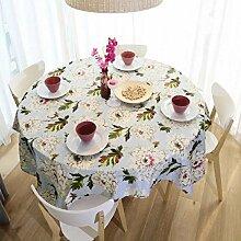 GJ&H Europäischen Stil Garten Wind Runde Tischdecke fühlen sich bequem atmungsaktiv hygroskopisch schlaffe gute Hause Dekoration Küche Esszimmer Tischdecke,A,90*140cm
