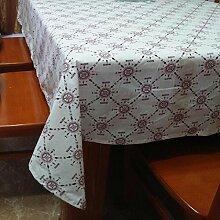 GJ&H Moderne einfache Garten Wind Baumwolle und Leinen gedruckt rechteckige Tischdecke Couchtisch Tuch Sofa Abdeckung Tuch fühlen sich bequeme Dekoration Küche Esszimmer Tischdecke,A,140*200cm