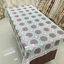 GJ&H tablecloth Europäischen Stil Garten Garn Stickerei transparent rechteckigen Tisch Tuch Kaffee Tuch einfach zu scheuern Umweltschutz Dekoration Küche Esszimmer Tischdecke,B,150*150cm