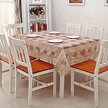 GJ&H tablecloth Europäischen Stil Garten Garn Stickerei transparent rechteckigen Tisch Tuch Kaffee Tuch einfach zu scheuern Umweltschutz Dekoration Küche Esszimmer Tischdecke,A,100*150cm