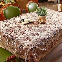 GJ&H tablecloth Europäischen Stil Garten Glas Jacquard-Stickerei Satin Spitze rechteckigen Tischdecke Couchtisch Tuch langlebig dekoriert Küche Esszimmer Tischdecke,A,100*150cm