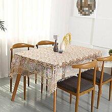 GJ&H tablecloth Europäischen Stil Garten Stickerei hohle Glas Garn Spitze rechteckigen Esstisch Tuch Couchtisch Tuch langlebig Umwelt atmungsaktiv Absacken gute Küche Esszimmer Tischdecke,B,100*150cm