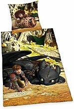 Herding 4426209050521 Dragons Bettwäsche Bettwäsche-Set, Baumwolle, Mehrfarbig, 135 x 200 cm