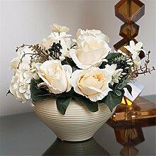Hochzeit Dekoration DIY Home Garten Künstliche Blumen?Die emulation Rose Blume, creme, beige Becken