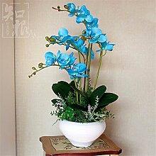 Hochzeit Dekoration DIY Home Garten Künstliche Blumen?Die Motten Orchid Vase, Schmetterling mit blauen und weißen Becken blau