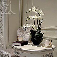 Hochzeit Dekoration DIY Home Garten Künstliche Blumen?Die Motten Orchidee mit Vase, Schmetterling Blau Schwarz Weiß Becken
