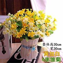 Hochzeit Dekoration DIY Home Garten Künstliche Blumen?Emulation, geblümte Einrichtung, Kabelbaum, Gänseblümchen, Huang + Weiß