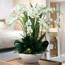 Hochzeit Dekoration DIY Home Garten Künstliche Blumen?Emulation Blumenvase Phalaenopsis Brautstrauß, weiß grüne Zelle