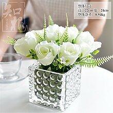 Hochzeit Dekoration DIY Home Garten Künstliche Blumen?Emulation Blume Rose, Glas Vase, weiß)