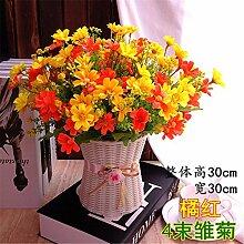 Hochzeit Dekoration DIY Home Garten Künstliche Blumen?Emulation, geblümte Einrichtung, Kabelbaum, Gänseblümchen + Orange Rot