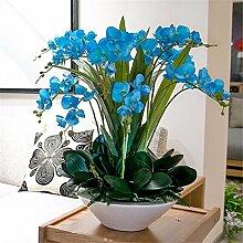 Hochzeit Dekoration DIY Home Garten Künstliche Blumen?Emulation Blumenvase Phalaenopsis Brautstrauß, Blau