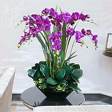 Hochzeit Dekoration DIY Home Garten Künstliche Blumen?Emulation Blumenvase Phalaenopsis Brautstrauß, Lila Schwarz Waschbecken