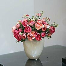 Hochzeit Dekoration DIY Home Garten Künstliche Blumen?Hohe emulation Flower Set), Rot
